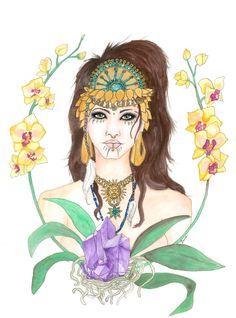 Brigid (Brighid) Celtic Triple Goddess portrait painting, spring, Imbolc, maiden, bride by EyeScreamPaintShop on Etsy https://www.etsy.com/listing/226722859/brigid-brighid-celtic-triple-goddess