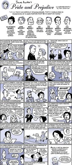 """Pride and Prejudice: Illustrated in (Very) Brief Edition! By Jen Sorensen. Amusing, including the rather un-Austen-like dialogue: """"That arrogant jerk""""!"""