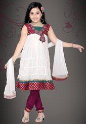 White Net Readymade Churidar Kameez