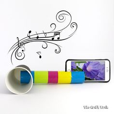 Create a DIY iPhone speaker from a cardboard tube and paper cup. This is a fun STEM craft for kids to learn about how sound can be amplified. Music For Toddlers, Toddler Music, Never Grow Up, Easy Crafts For Kids, Cool Kids, Kids Fun, Art Music, School Projects, Kids And Parenting