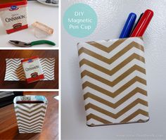 DIY Magnetic Pen Cup. So going to do this!