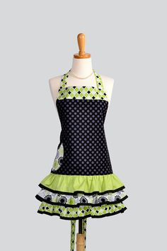 Ruffled Retro Apron . Flirty Full Womens Handmade Apron Michael Millers Black TaDot and Lime GreenRuffled Vintage Style Skirt