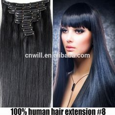 Hot Sale 24 inch clip on human hair weft extension Human Virgin Hair Clip In Hair Extension