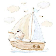 Nursery print baby bear on boat