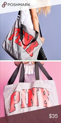 Victoria's Secret PINK large weekend bag. Nice large VS PINK bag. Good for weekends or gym. Heather gray with pink writing. Large and small straps. New with tags! PINK Victoria's Secret Bags Travel Bags