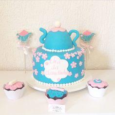Bolo Chá de bebê. teapot cake for baby shower