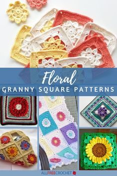 18 Floral Granny Square Patterns : Crochet granny squares can be seen as the bu. 18 Floral Granny Square Patterns : Crochet granny squares can be seen as the building blocks of cr Crochet Squares Afghan, Granny Square Crochet Pattern, Crochet Granny, Granny Squares, Crochet Blocks, Crochet Afghans, Crochet Stitches, Sunburst Granny Square, Granny Square Projects