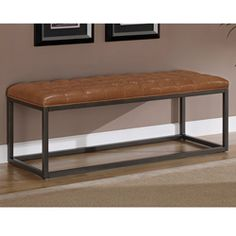 Healy Saddle Brown Bonded Leather and Metal Bench - For Overstock.com - 'cause they ship to Canada -