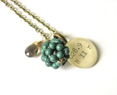 Dewey Decimal Necklace with Smoky Topaz and Teal by writtennerd, $50.00