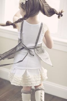 Grey linen apron pinafore with vinatge crochet and lace detailing