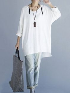 O-Newe Plus Size Loose Solid Long Sleeve High Low Hoodie For Women - Newchic Mobile.
