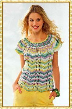 Si vous voulez savoir comment faire ce beau crochet blouse voir le schéma ci-dessous. Fantastique blouse en crochet, fait avec un point zig-zag. Ses couleurs colorées lesdonnent un aspect frais et