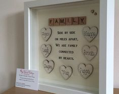 Beautiful family scrabble frame Many hearts can be added surname or family in scrabble Can be personalised just for you 💕 Please note price is for 4 hearts only Scrabble Crafts, Scrabble Frame, Scrabble Art, Scrabble Tiles, Box Frame Art, Box Frames, Diy Frame, Box Art, Homemade Gifts