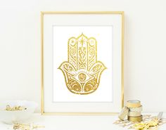 Hamsa Hand Wall Art Print - Modern Home Decor - Giclee Art Poster - Faux Gold Glitter Wall Art - NOT REAL GLITTER by QuantumPrints on Etsy https://www.etsy.com/listing/235714803/hamsa-hand-wall-art-print-modern-home