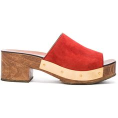 Rosetta Getty Clog (€210) ❤ liked on Polyvore featuring shoes, clogs, heels, wooden-heel shoes, heeled clogs, mid heel platform shoes, clogs footwear and wooden heel clogs