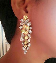 Fancy Yellow Drop Dangle Earrings 925 Sterling Silver Wedding Bridal Jewelry #NIKIGEMS #DropDangle #SterlingSilverWedding