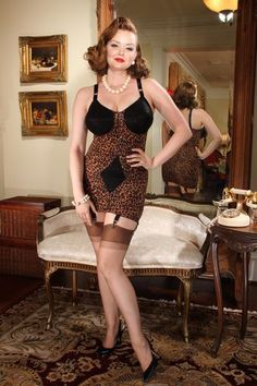 The fabulous Leopard Body Briefer by Secrets in Lace, perfect for a retro style!