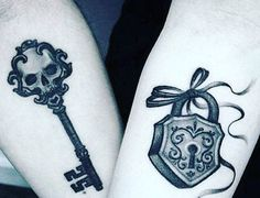 Do you know lock and key tattoo designs? Here are the latest 23 Lock and Key Tattoo Designs that you may like to try. Key Tattoo Designs, Couples Tattoo Designs, Tattoo Designs For Women, Lock Key Tattoos, Lock Tattoo, Him And Her Tattoos, Tattoos For Guys, Tattoos For Women, Sister Tattoos