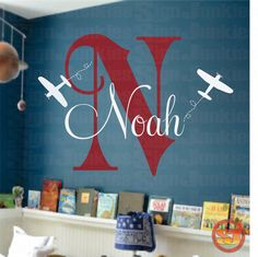 Airplane Name Decal - Initial and Name vinyl Monogram Wall Lettering for Baby Boy or Girl Nursery Plane 22H x 32W. $39.95, via Etsy.