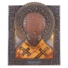 A Russian icon depicting Saint Nicholas of Myra, with a s Russian Icons, Russian Art, Saint Nicholas, Saints, Lion Sculpture, Statue, Silver, Auction, Sculptures