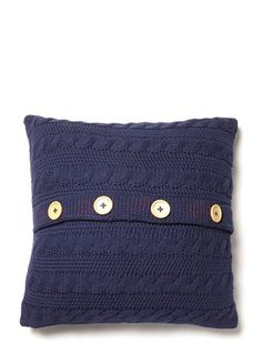 Navy Knitted Cushion