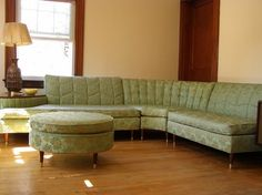 mid-century sectional, would love it better if it wasn't green. Change the fabric, perfect
