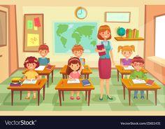 Pupils and teacher in classroom school pedagogue Vector Image ,