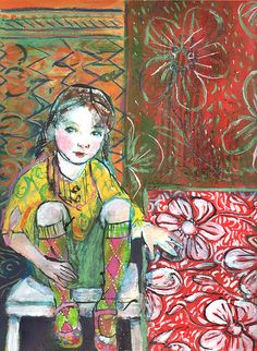 "Maria Pace-Wynters--2008 Argyle Socks, 11""x15.5"", mixed media on paper, 2008 
