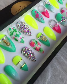 Tropical Neon Summer Press On Nails Any Shape by NailedByCristy
