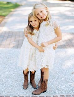 Earthy Wedding in South Carolina, Flower Girls in White Dresses and Cowboy Boots. Earthy Wedding i Flower Girl Dresses Country, Country Wedding Flowers, Lace Flower Girls, Bride Flowers, Girls Dresses, Cowgirl Dresses, Wedding White, Spring Wedding, Dream Wedding