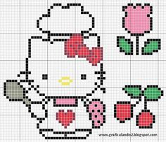 Free Baking Hello Kitty Cross Stitch Chart or Hama Perler Bead Pattern