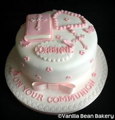 Communion and Confirmation Cakes here at Vanilla Bean Bakery First Holy Communion Cake, Comunion Cakes, One Layer Cakes, Religious Cakes, Confirmation Cakes, Ballerina Cakes, Novelty Cakes, Cake Designs, Themed Cakes