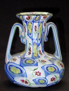 RARE Murano TOSO Millefiori Murrines 2 Handle Vase