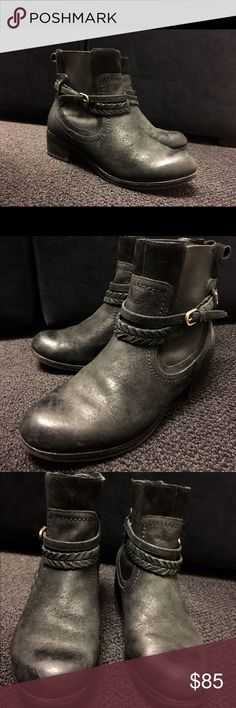 ✨Leather UGG Boots✨ These super cool UGG boots are size 8.5 with a 1.75 inch heel. They are black leather with the sheep lining on the inside sole. Worn a few times and minor wear on the heels but great quality and in good condition! UGG Shoes Ankle Boots & Booties