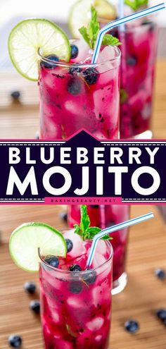 Cool off this summer with this Blueberry Mojito! This refreshing summer cocktail has sweet blueberries, tart limes, and a splash of rum. This easy summer drink is perfect for lazy summer afternoons… Easy Drinks To Make, Easy Drink Recipes, Cocktail Recipes, Summer Recipes, Fun Drinks Alcohol, Alcohol Drink Recipes, Alcoholic Drinks, Beverages, Slushie Recipe