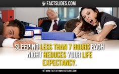 26 Facts about Health ←FACTSlides→ Sleeping less than 7 hours each night reduces your life expectancy.