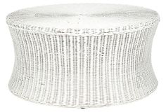 Candace Cocktail Ottoman, White on OneKingsLane.com