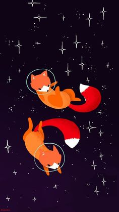 """Space foxes"" by Maike Vierkant: https://maikevierkant.tumblr.com/post/84532734991/space-foxes-because-space-animals-are-fun-edit • Merchandise: https://society6.com/vierkant"