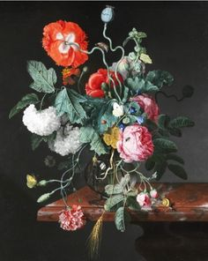 Flowers in a Glass Vase by Jacob van Walscapelle, 1667. Victoria And Albert Museum, V & A Museum, Oil Painting Flowers, Dutch Painters, Glass Vase, Large Canvas, Flower Vases, Color Patterns, Still Life