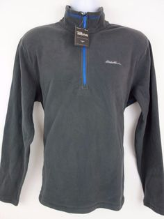 NEW Eddie Bauer Gray 1 2 Zip Fleece Polartec Pullover Men s Sweater Size L   a6d4a5c4a