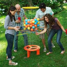 Some of these would be fun for the Beanhole Beans party! 13 Backyard Games & Structures- Great resource for party ideas! (Pictured is-Shishkaball ball-drop for backyard games. Backyard Games, Outdoor Games, Outdoor Play, Outdoor Activities, Activities For Kids, Outdoor Toys, Backyard Fort, Do It Yourself Baby, Fun Games