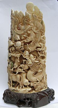 netsuke carvings | Carvings - Mammoth/Hippo Stone Sculptures, Tree Sculpture, Tree Carving, Wood Carving, Bone Crafts, Chinese Art, Asian Art, Handicraft, Wood Art