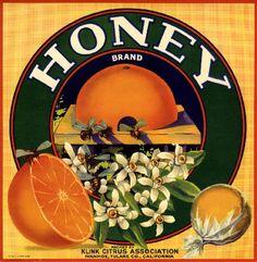 """""""HONEY"""" brand orange crate label"""