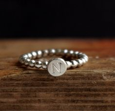 Custom Initial Stacking Ring Organic Silver Nugget Sterling Silver Ring Typography