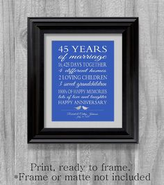 45th Wedding Anniversary Gift Sapphire Blue by PrintsbyChristine, $15.00