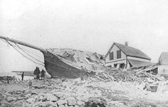 Pilot boat Columbia ashore on  somebody's house, November 1898 --the Portland Gale. Five crew lost.