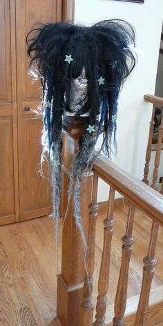 Nice - astronomy themed super long full dreadlock wig with bangs - jet black # 1 base with black hole silvery blue, silver fabric spray accents and