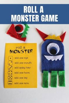Monster Games For Kids, Monster Activities, Fun Activities For Kids, Dice Games, Games To Play, Printable Playing Cards, Art For Kids, Crafts For Kids, Local Craft Fairs