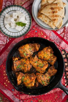 Moroccan Chicken - paprika and cumin add deep flavor to flavorful chicken thighs. Serve with warm pita or naan, feta, and mint for an easy Persian inspired meal. - skip the bread Moroccan Chicken, Persian Chicken, Indian Food Recipes, Ethnic Recipes, Moroccan Recipes, Persian Recipes, Cooking Recipes, Healthy Recipes, Kitchen Recipes