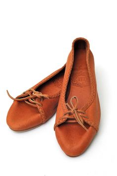 ELF - Gypsy style rustic lace up ballet flats. Handmade in Bali from leather.